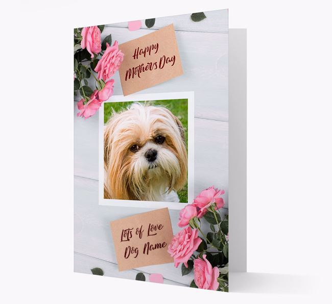 Happy Mother's Day Roses- Personalized Shih Tzu Photo Upload Card