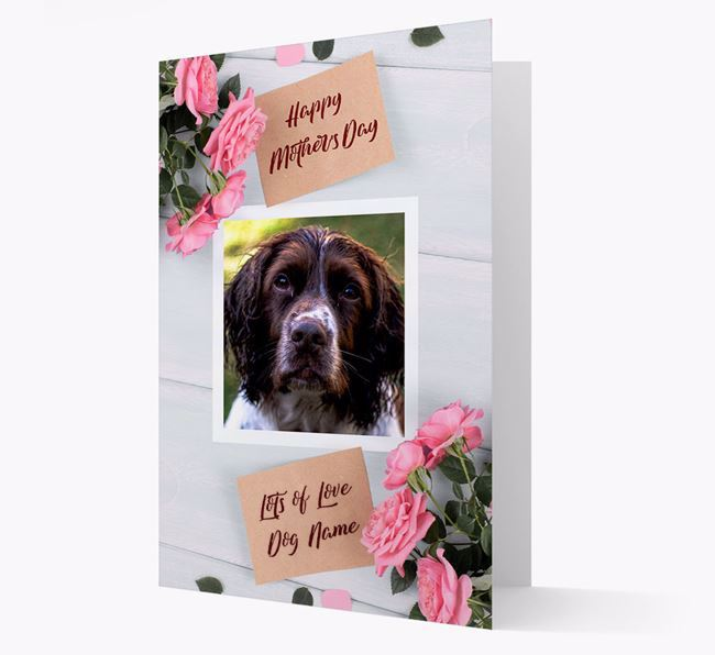 Happy Mother's Day Roses- Personalized Springer Spaniel Photo Upload Card