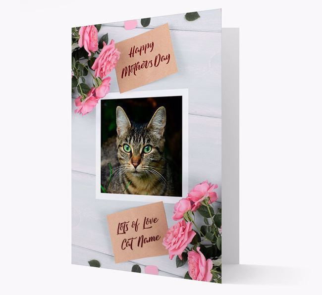 Happy Mother's Day Roses- Personalized Cat Photo Upload Card
