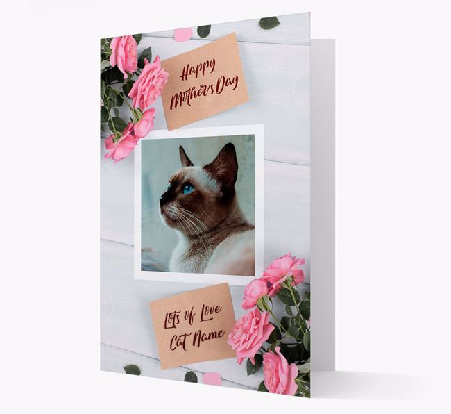 Happy Mother's Day Roses- Personalized Siamese Photo Upload Card