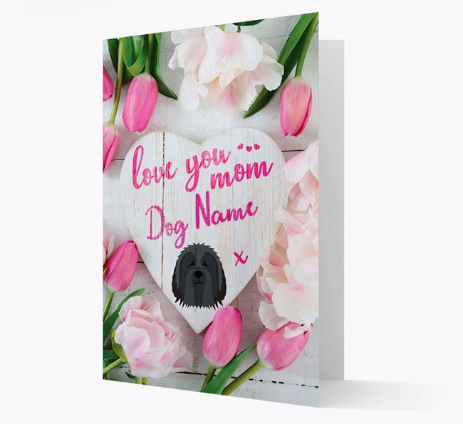 'Love You Mom' - Personalized Bearded Collie Card