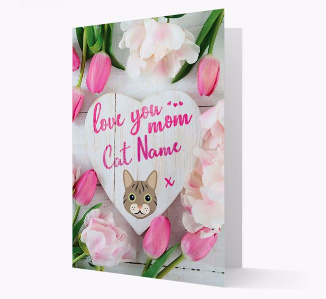 'Love You Mom' - Personalized Cat Card