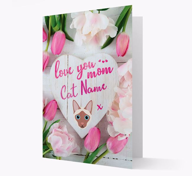 'Love You Mom' - Personalized Siamese Card