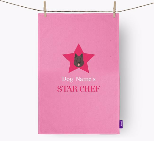 'Your Dog's Star Chef' - Personalized Belgian Groenendael Dish Towel