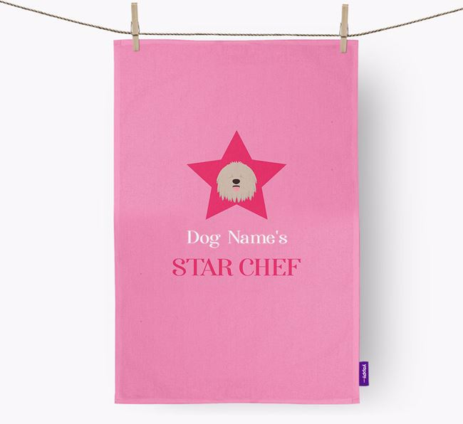 'Your Dog's Star Chef' - Personalized Bergamasco Dish Towel
