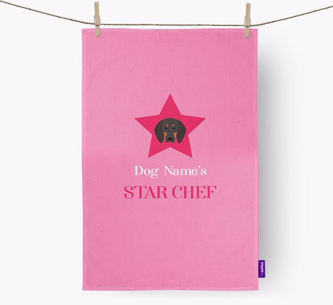 'Your Dog's Star Chef' - Personalized Black and Tan Coonhound Dish Towel