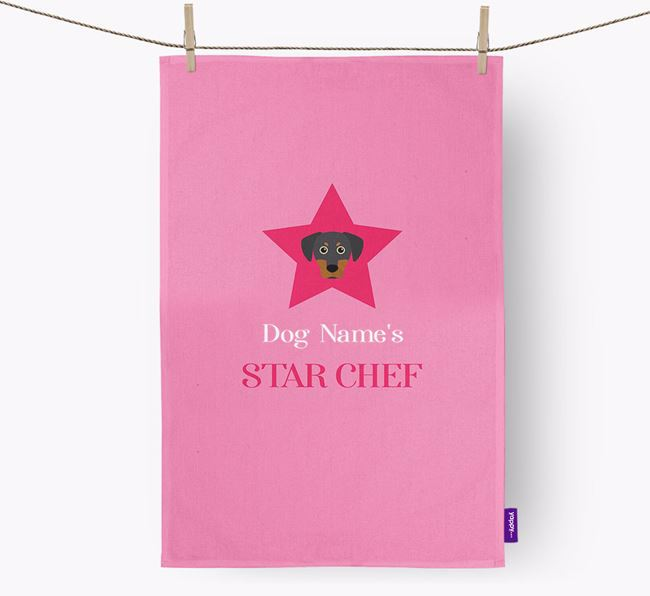 'Your Dog's Star Chef' - Personalized Blue Lacy Dish Towel