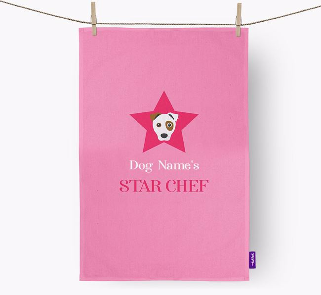 'Your Dog's Star Chef' - Personalized Border Jack Dish Towel