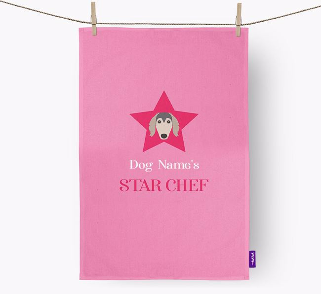 'Your Dog's Star Chef' - Personalized Borzoi Dish Towel