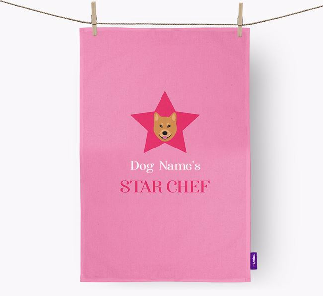'Your Dog's Star Chef' - Personalized Finnish Spitz Dish Towel
