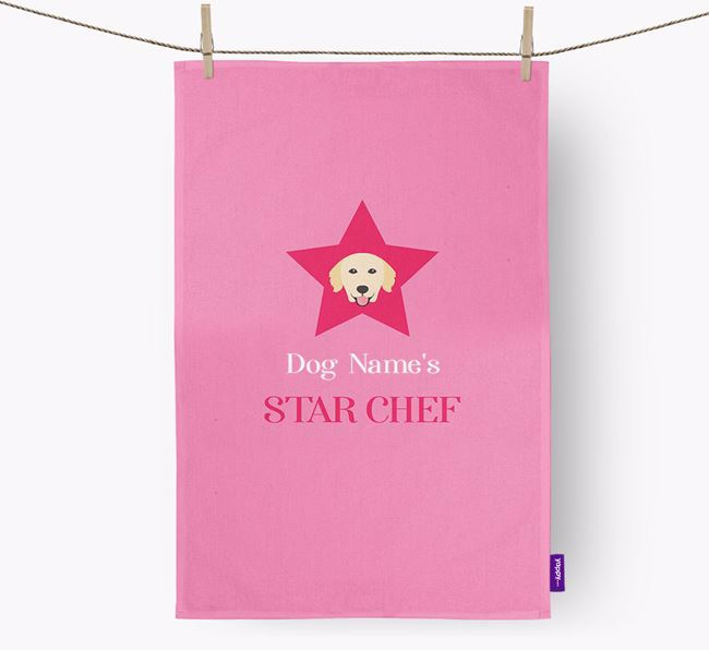 'Your Dog's Star Chef' - Personalized Golden Retriever Dish Towel