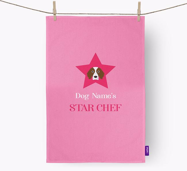 'Your Dog's Star Chef' - Personalized Irish Red & White Setter Dish Towel