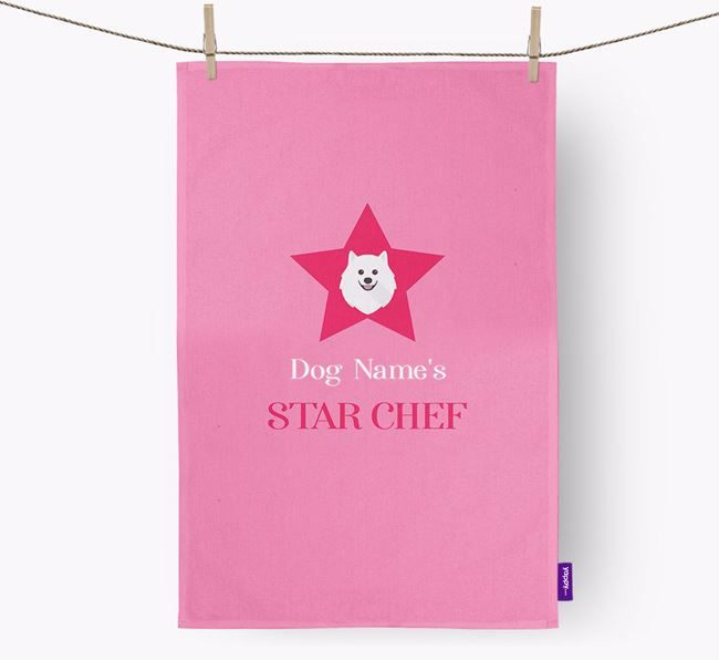 'Your Dog's Star Chef' - Personalized Japanese Spitz Dish Towel