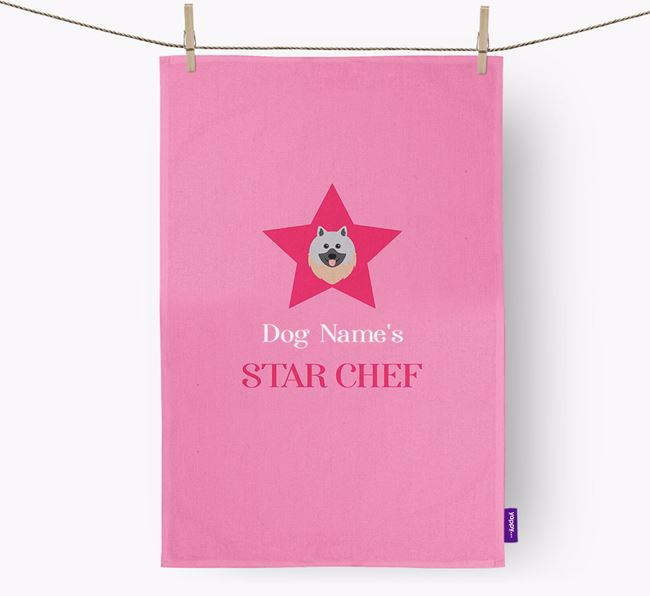 'Your Dog's Star Chef' - Personalized Keeshond Dish Towel