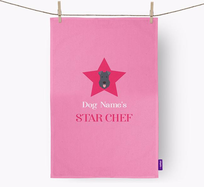 'Your Dog's Star Chef' - Personalized Kerry Blue Terrier Dish Towel