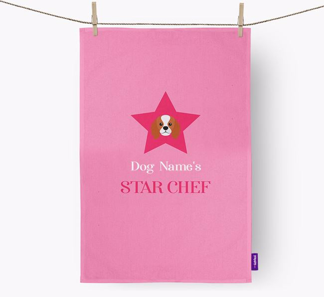 'Your Dog's Star Chef' - Personalized King Charles Spaniel Dish Towel