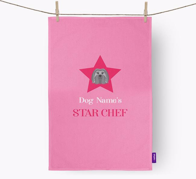 'Your Dog's Star Chef' - Personalized Löwchen Dish Towel