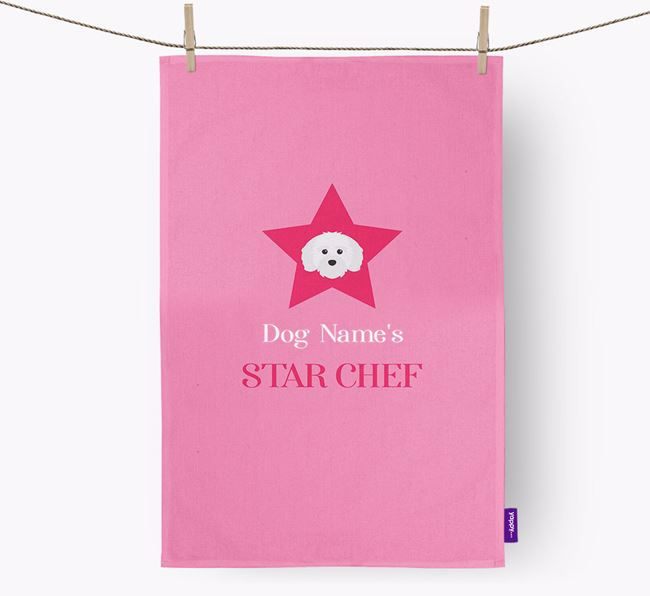'Your Dog's Star Chef' - Personalized Maltichon Dish Towel