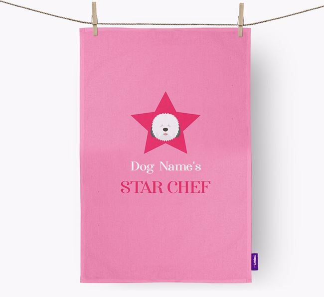 'Your Dog's Star Chef' - Personalized Old English Sheepdog Dish Towel