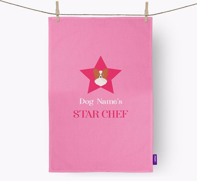 'Your Dog's Star Chef' - Personalized Papillon Dish Towel