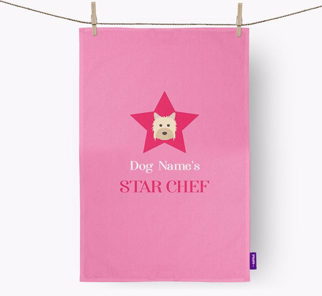 'Your Dog's Star Chef' - Personalized Powderpuff Chinese Crested Dish Towel