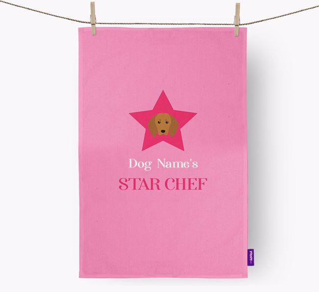 'Your Dog's Star Chef' - Personalized Redbone Coonhound Dish Towel
