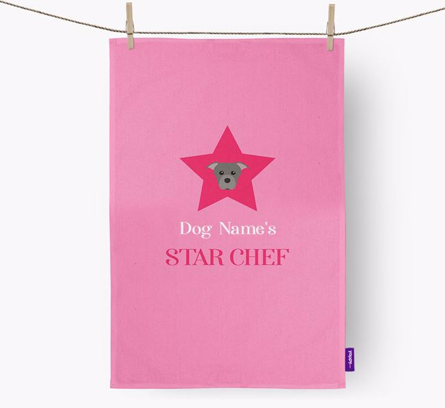'Your Dog's Star Chef' - Personalized Staffordshire Bull Terrier Dish Towel
