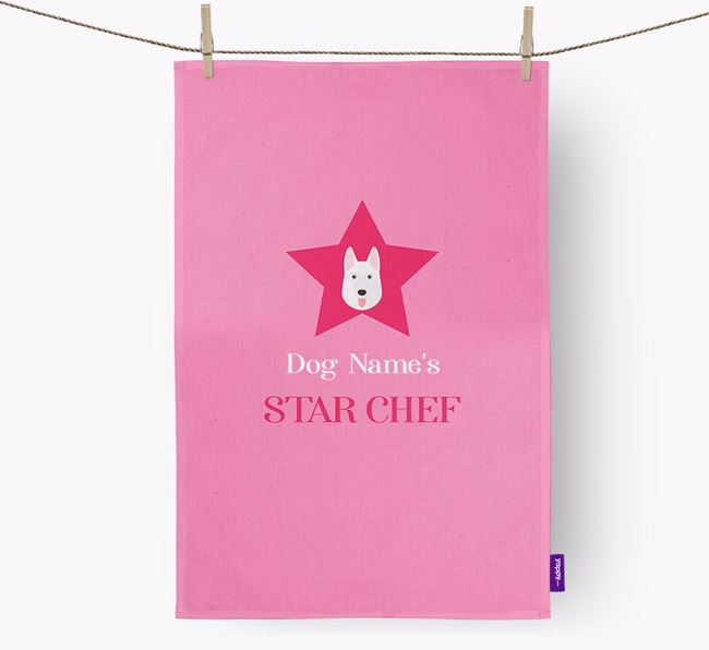 'Your Dog's Star Chef' - Personalized White Swiss Shepherd Dog Dish Towel