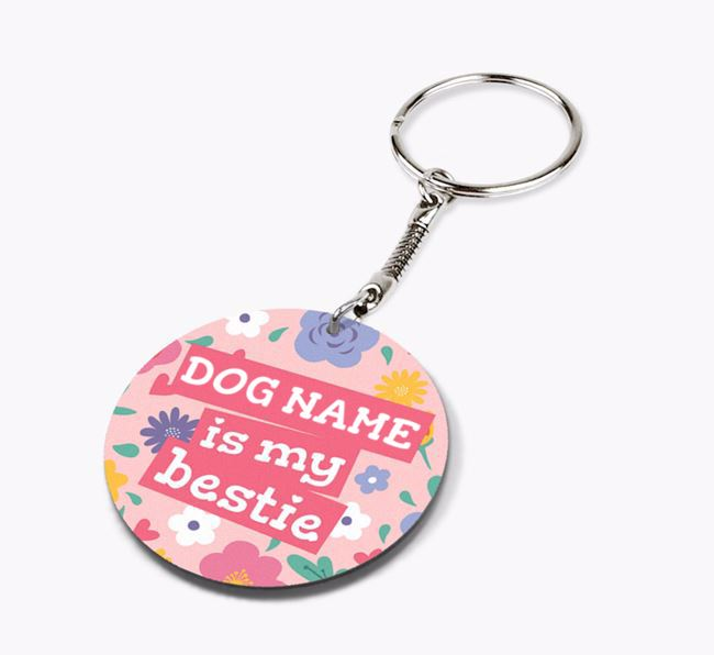 'Is My Bestie' - Personalized Double-Sided Bearded Collie Keyring