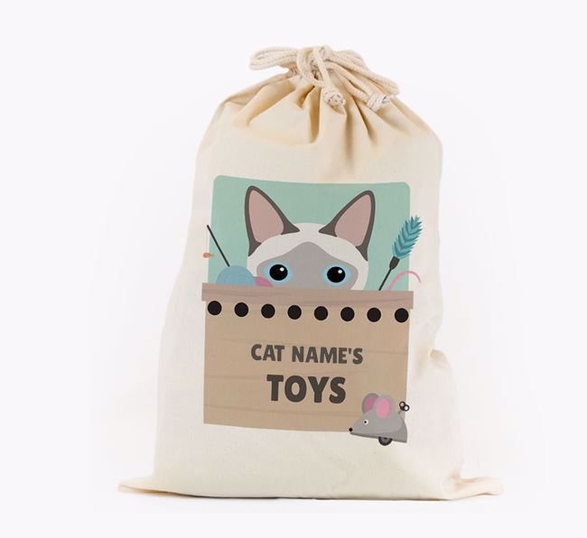 'Your Cat's Toys' - Personalised Toy Sack for your Siamese