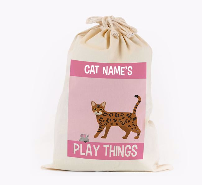 'Your Cat's Play Things' - Personalised Toy Sack for your Bengal
