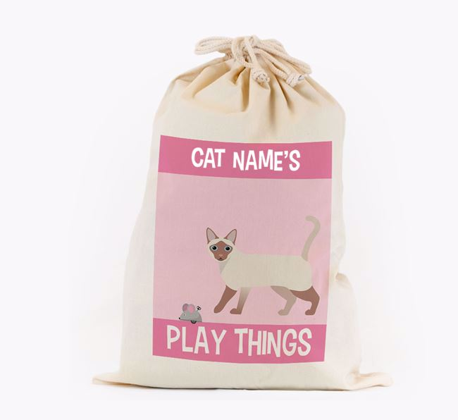 'Your Cat's Play Things' - Personalised Toy Sack for your Siamese