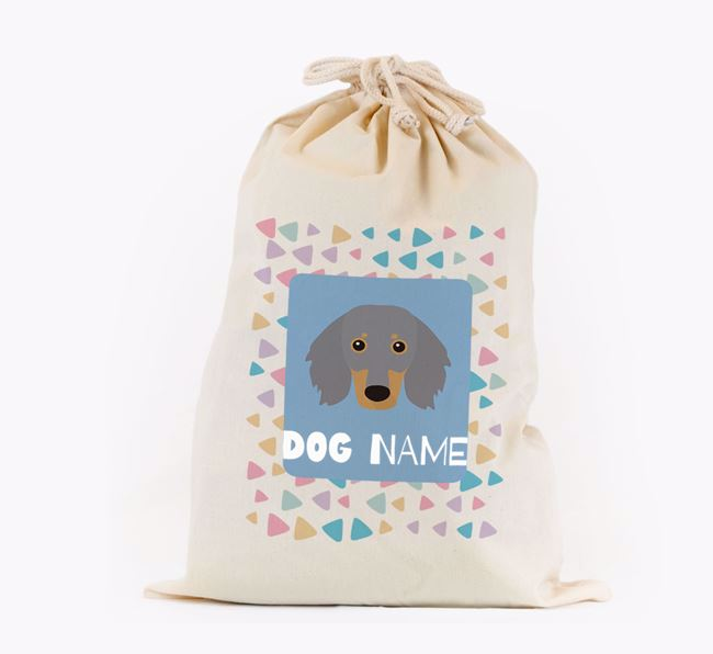 Triangle Pattern - Personalised Dachshund Toy Sack
