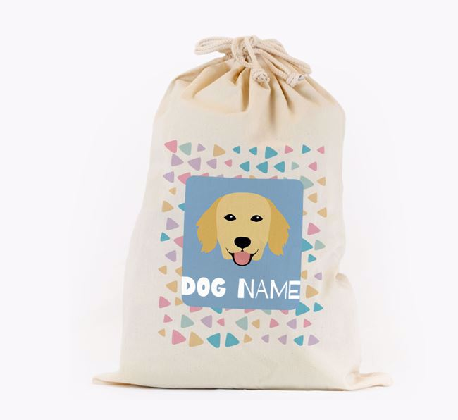 Triangle Pattern - Personalised Flat-Coated Retriever Toy Sack
