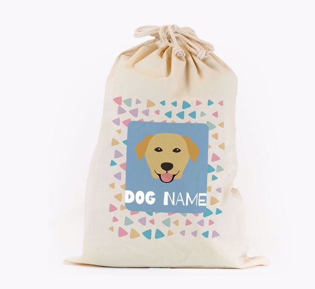 Triangle Pattern - Personalised Golden Labrador Toy Sack