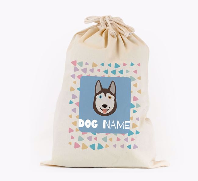 Triangle Pattern - Personalised Siberian Husky Toy Sack