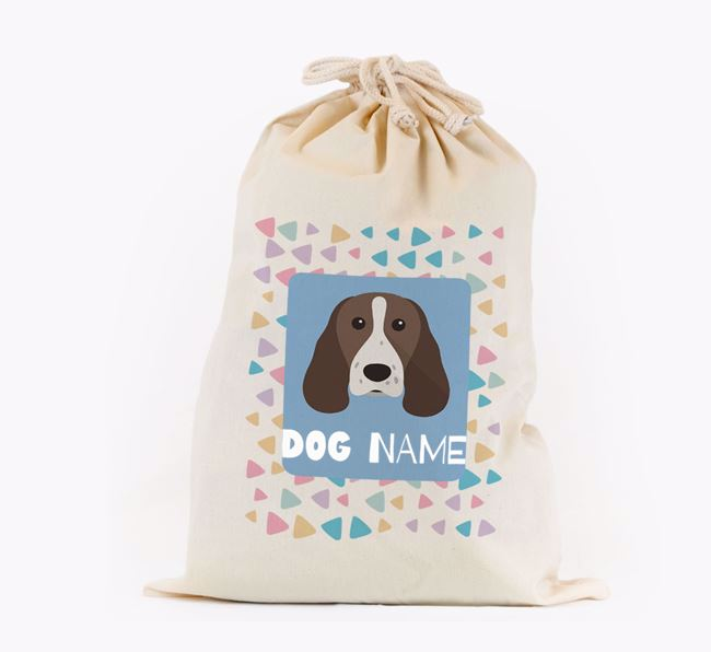 Triangle Pattern - Personalised Springer Spaniel Toy Sack