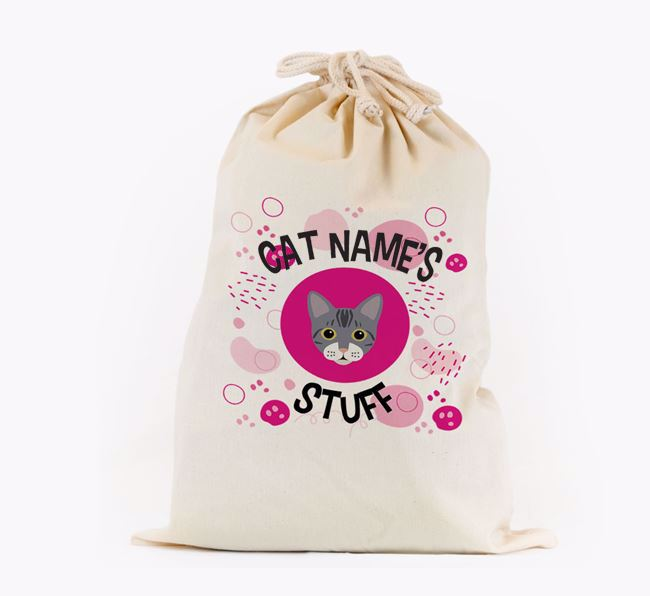 'Your Cat's Stuff'  - Personalised Toy Sack with Bengal Icon