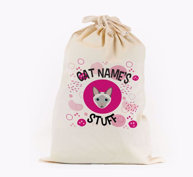 'Your Cat's Stuff'  - Personalised Toy Sack with Siamese Icon