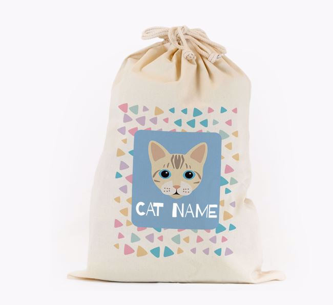 Personalised Triangle Pattern Toy Sack with Bengal Icon