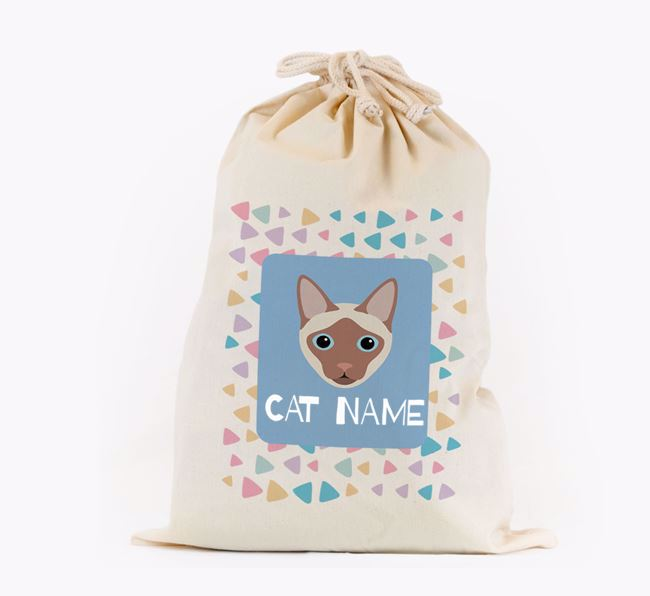 Personalised Triangle Pattern Toy Sack with Siamese Icon