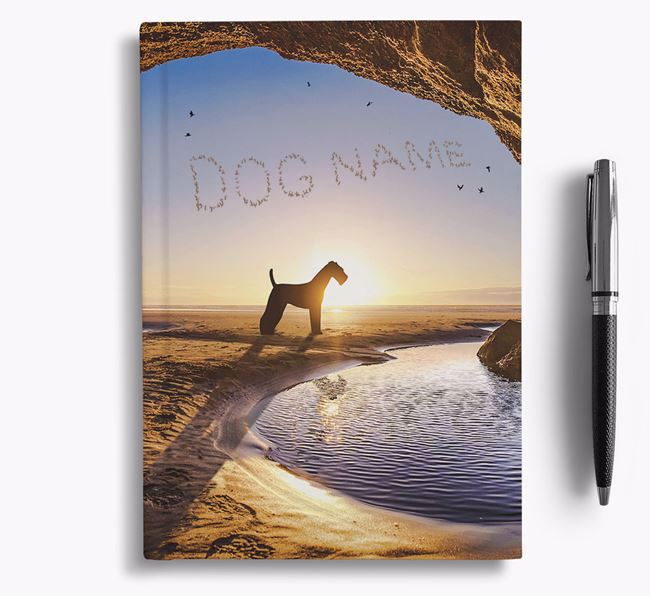 'Sunset Cave' - Personalized Airedale Terrier Notebook