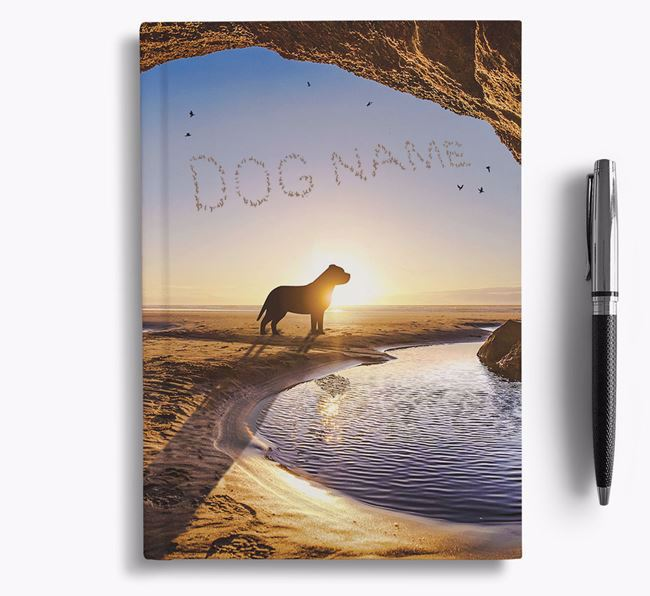 'Sunset Cave' - Personalized American Staffordshire Terrier Notebook