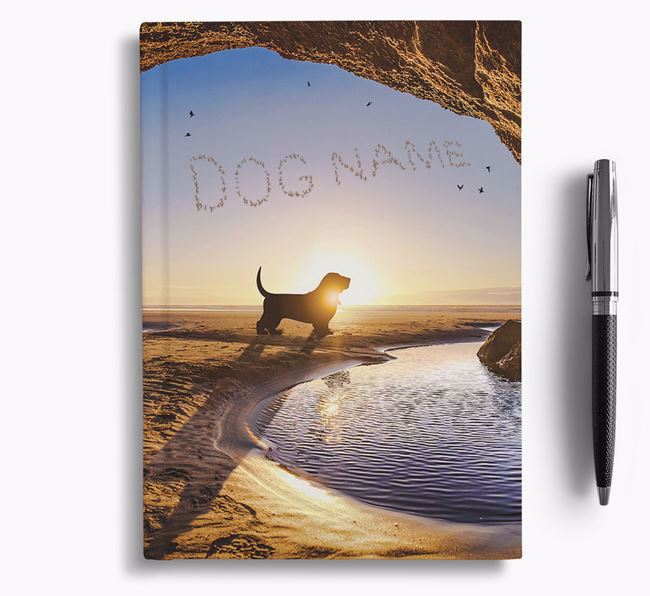 'Sunset Cave' - Personalized Basset Hound Notebook