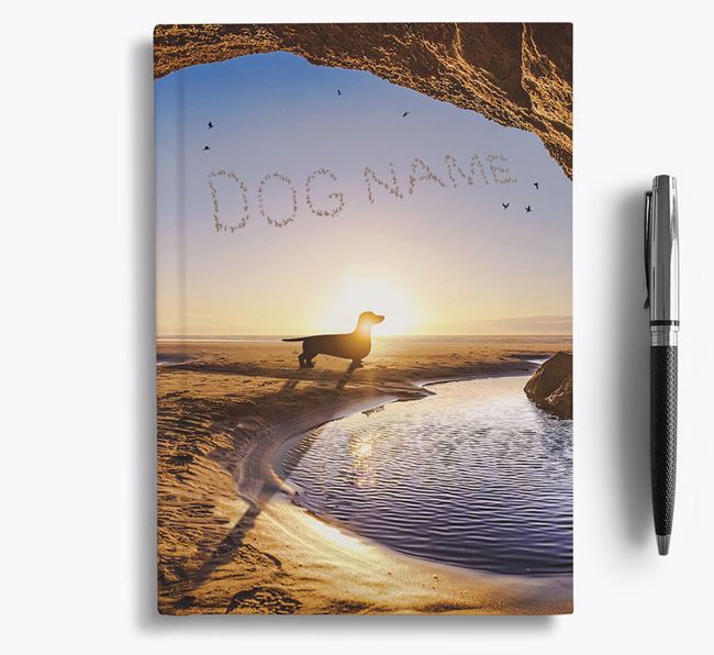 'Sunset Cave' - Personalized Dachshund Notebook