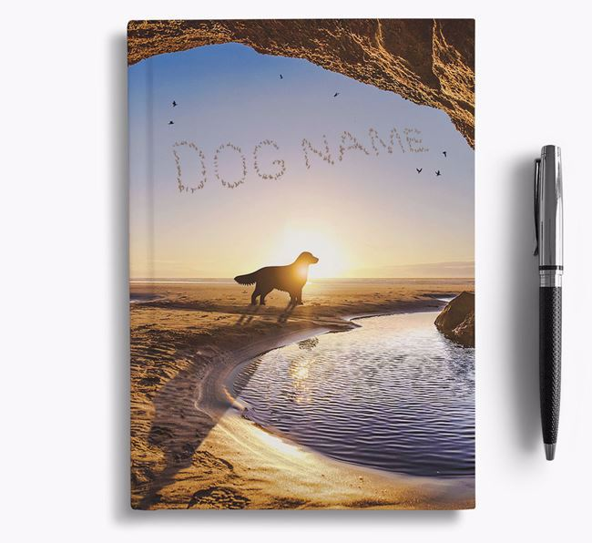 'Sunset Cave' - Personalized Golden Retriever Notebook
