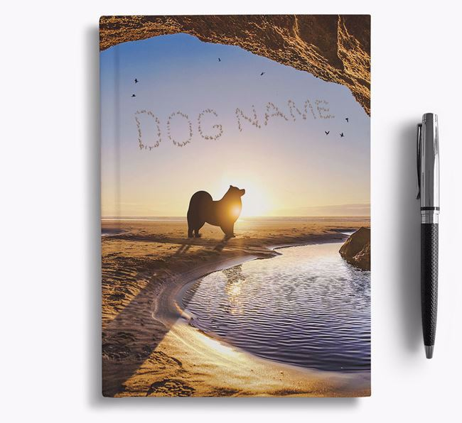 'Sunset Cave' - Personalized Keeshond Notebook