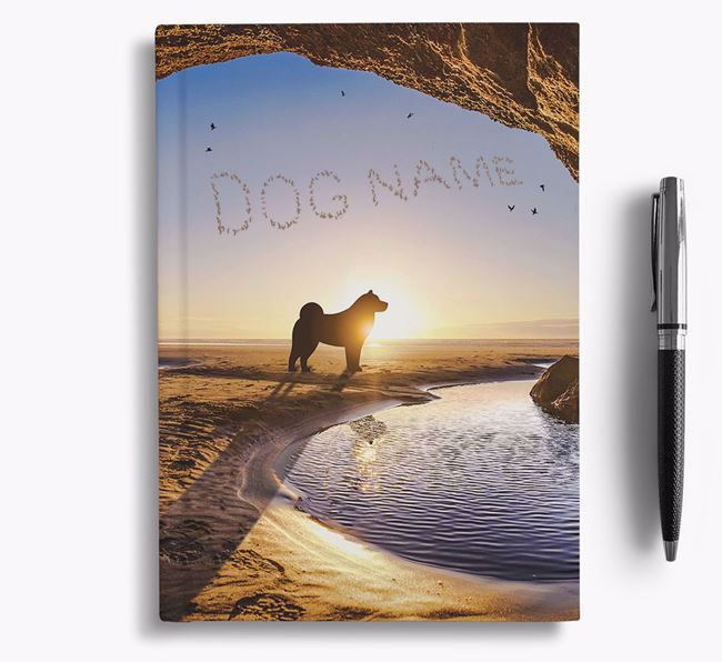 'Sunset Cave' - Personalized Norwegian Elkhound Notebook