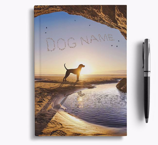 'Sunset Cave' - Personalized Redbone Coonhound Notebook