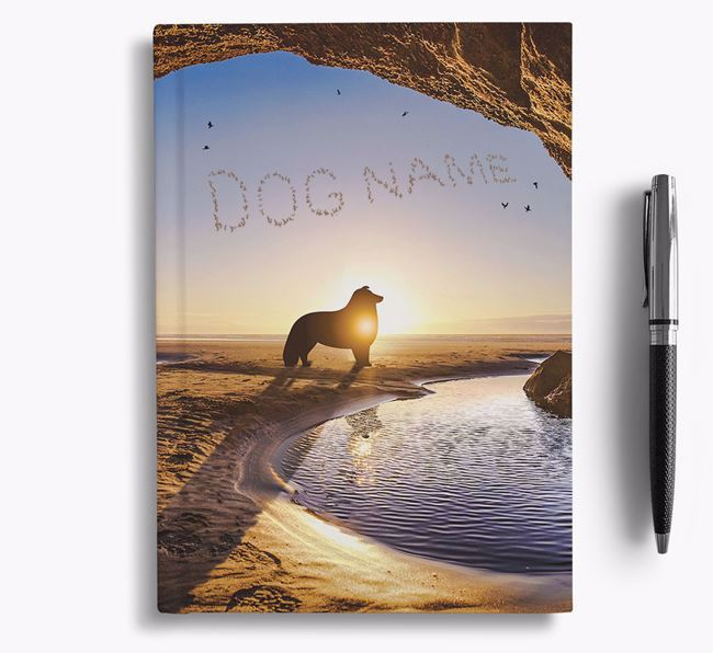 'Sunset Cave' - Personalized Rough Collie Notebook